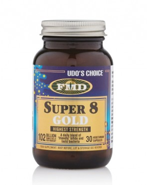 33% EXTRA FREE FILL - Udo's Choice® Super 8 Gold Microbiotic - 30 Caps